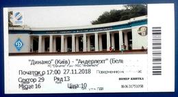 Football Tickets -  F.C. DYNAMO  Kiyv  V   R.S.C.  ANDERLECHT , U-19 ,  2018 ,  YOUTH UEFA LEAGUE.. - Tickets D'entrée