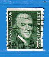 (Us2) USA °-1967-68 - Américains Célèbres- THOMAS JEFFERSON.  Yvert . 816A D. 10 Vert.  .  USED.  Vedi Descrizione - Stati Uniti