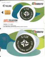ITALY(chip) - EL Esercito, KFOR Multinational Brigade West, Telecom Italia Satellite Card, CN : 0093, Ed 31/12/05, Used - Télécartes