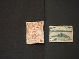 PERU' - P.A. 1957/60 UCCELLO/NAVE 2 VALORI  - NUOVO(++) - Perù