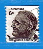 (Us2) USA °-1967 - Américains Célèbres- FRANKLIN.D. ROOSEVELT.  Yvert . 840A. D.10. Vert.  .  USED.  Vedi Descrizione - Stati Uniti