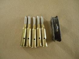 5 Cartouches Cal  6,5X54R Mannlicher Pays Bas (neutralisées) Avec Son Clip - Equipement