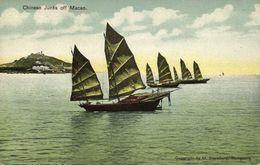 China, MACAO MACAU 澳門, Chinese Junks Off Macao (1910s) Postcard - China