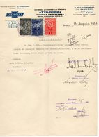 1934 YUGOSLAVIA, SERBIA, BELGRADE, AUTO-OMNIA,CHEVROLET, RECEIPT ON A FACTORY LETTERHEAD, 3 FISKAL STAMPS - Invoices & Commercial Documents