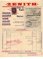 1936 YUGOSLAVIA, CROATIA, ZAGREB, ZENITH, INVOICE ON LETTERHEAD, 1 FISKAL STAMP - Invoices & Commercial Documents