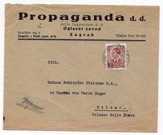1940 YUGOSLAVIA, CROATIA, ZAGREB TO MILAN, ITALY, PROPAGANDA. HEAD COVER - 1931-1941 Kingdom Of Yugoslavia