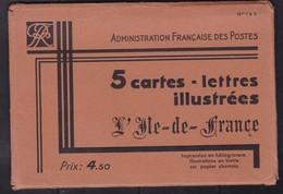 ENTIERS SPECIAUX POCHETTE ENTIERE DE 5 CARTES-LETTRES ILLUSTREES ILE DE FRANCE COTE 32,5E X5 = 162.5E - Postal Stamped Stationery