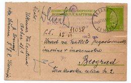 1953 YUGOSLAVIA, SLOVENIA, SEZANA TO BELGRADE, TITO, POSTAL STATIONERY - Postal Stationery
