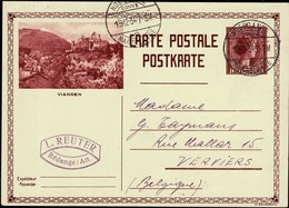 1931 Carte Postale Vue Vianden, Cachet Noerdange, Martelange 19.12.1934, Prifix:103, 40c  2Scans - Postwaardestukken