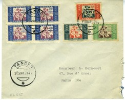 Lettre De TANGER 1937 à Paris  Affranchie Timbres Bienfaisance EL545 - 1931-Hoy: 2ª República - ... Juan Carlos I