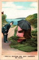 Bamforth No 1072 Policeman To Couple Under Umbrella You'll Excuse Me But There's No Rain - Humour