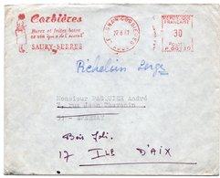 """LSC 1967 - EMA - Cachet LEZIGNAN CORBIERES (Aude) Et Empreinte """"Corbières Buvez Et Faites Boire Ce Vin...SAURY-SERRES"""" - Marcophilie (Lettres)"""