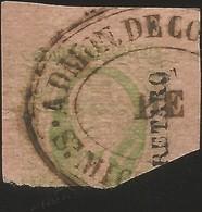 J) 1861 MEXICO, HIDALGO, 8 REALES GREEN, QUERETARO DISTRICT, OVAL CANCELLATION ADMON DE CORREOS, SAN MIGUEL DE ALLENDE, - Mexico