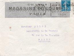 """LSC 1924 - Entête GRANDS MAGASINS DU LOUVRE & Flamme """"JEUX OLYMPIQUES PARIS MAI JUIN JUILLET 1924"""" - 1921-1960: Periodo Moderno"""