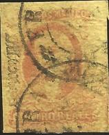 J) 1861 MEXICO, HIDALGO, 4 REALES RED, DISTRICT MEXICO, DOUBLE CIRCULAR CANCELLATION, MN - Mexico