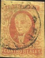J) 1861 MEXICO, HIDALGO, 4 REALES, NO DISTRICT NAME, CIRCULAR CANCELLATION, MN - Mexico