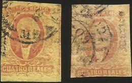 J) 1861 MEXICO, HIDALGO, 4 REALES, DISTRICT MEXICO, NICE COMBINATION, CIRCULAR CANCELLATION, MN - Mexico