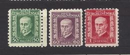 Czechoslovakia 1926 MNH ** Mi 242-244 OWz Sc 128-129,131 President Masaryk. Without Watermarks. Tschechoslowakei - Tschechoslowakei/CSSR