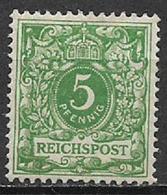 GERMANIA REICH IMPERO 1889 CIFRA IN OVALE VALORE PER I PRIMI TRE VALORI;AQUILA IN UN CERCHIO PER ALTRI UNIF. 46 MLH VF - Nuovi