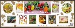 (ja1170) Japan 2018 Greetings Autumn 82y MNH Bird Squirrel Mushroom Fruits - 1989-... Kaiser Akihito (Heisei Era)
