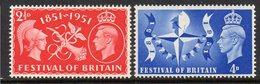 GREAT BRITAIN, 1951 FESTIVAL OF BRITAIN 2 MNH - Ongebruikt