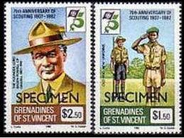 ST.VINCENT GRENADINES 1982 Scouting SPECIMEN SET:2 - St.-Vincent En De Grenadines