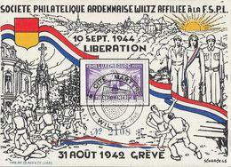 Luxembourg, Société Philatélique Ardennaise, Wiltz, 10 Set. 1944, Libération, 31 Août 1942, Grève - Illustration Schaack - Luxemburg