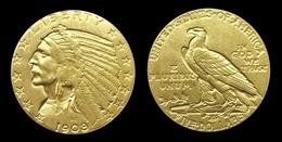 COPIE - 1 Pièce Plaquée OR Sous Capsule ! ( GOLD Plated Coin ) - Etats-Unis USA - 5 Dollars Indian Head Half Eagle 1908 - L. Gold