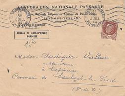 WWII - La Corporation Paysanne Est Crée Le 2 DéC. 1940 -  Enveloppe à En-tête De Juillet 1944 - Marcophilie (Lettres)