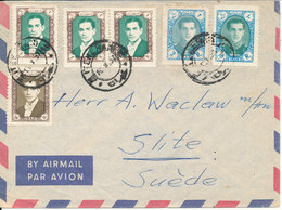 Iran Air Mail Cover Sent To Sweden 13-10-1957 - Iran