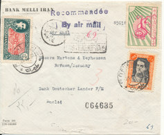 Iran Frontpage Of Registered Air Mail Bank Cover Sent To Germany 23-3-1951 (only The Frontpage) - Iran