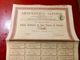 Cie  Générale   Des   ARDOISIÈRES   ALPINES  -------Action  Ordinaire  De  100 Fers - Mijnen