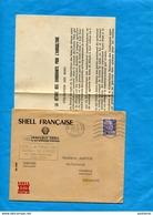 """Marcophilie+lettre """"SHELL FRANCE"""" Cad 1953 -NOTE Aux Distributeurs  De Carburants*- TAXATION-Agricole - Marcophilie (Lettres)"""