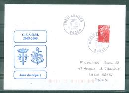 MARCOPHILIE - P H JEANNE D'ARC G.E.A.O.M.2008 - 2009 Départ De BREST Cachet Manuel De BREST ARMEES Du 9 - 12 - 08 - Marcophilie (Lettres)