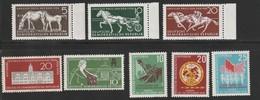 DDR 1958 Michel Nr.n 640-42, 648, 649, 657-59; Pferderennen Großer Preis Der DDR; Sommerspartakiade - Ungebraucht