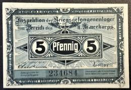Billet 5 Pfennig LAGERGELD MONNAIE DE CAMP PRISONNIER DE GUERRE Kriegsgefangenenlager HAVELBERG - Altri