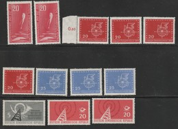 DDR 1958 Michel Nr.n 616 X2, 618 X4, 619 X3, 620, 621 X2, Alle Postfrisch - Ungebraucht