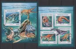 ST1887 2016 NIGER FAUNA REPTILES PREHISTORIC WATER ANIMALS  KB+BL MNH - Briefmarken