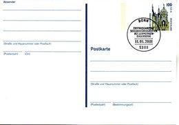 """BRD Amtliche Ganzsachen-Postkarte P 162 WSt """"Schloß Schwerin"""" 100 (Pf) Dklgraublau/graugelb, ESSt. 11.1.2001 BONN - Postales - Usados"""