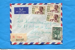 MARCOPHILIE-CONGO Lettre REC-pour Françe-cad DOLISIE-4-stamps Afft MIXTE Coloniaux A E F  +république - Congo - Brazzaville