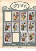 Images Chocolat Kohler. 10 Costumes Nationaux Féminins. Collées Sur Feuille Album.  Envoi 1,72 €. - Autres