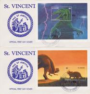 St. Vincent 2 FDC Dinosauri Dinosaurs Prehistoric Animals - Timbres