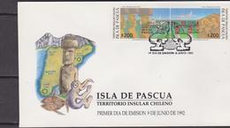 Cile Isla De Pascua FDC Dinosauri Dinosaurs Prehistoric Animals - Preistorici