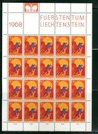 LIECHTENSTEIN - FOGLIO INTERO COMPLETO - NON PIEGATO - MNH LUSSO - 1967 - FUERSTENTUM - Definitives Religion 9v - Blocchi & Fogli