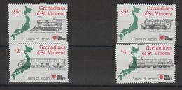 Saint Vincent Et Grenadines 1991 Trains Série 656-59 4 Val ** MMH - St.-Vincent En De Grenadines