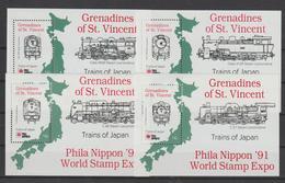 Saint Vincent Et Grenadines 1991 Trains BF 47 à 50 ** MMH - St.-Vincent En De Grenadines