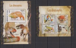 ST1966 2016 NIGER FAUNA PREHISTORIC ANIMALS DINOSAURS LES DINOSAURES KB+BL MNH - Briefmarken