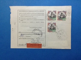 CASTELLO 1000 X 3 SU BOLLETTINO PACCHI DEL 1986 - 6. 1946-.. Republic