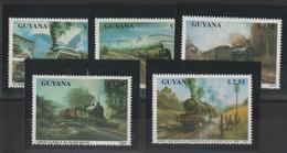 Guyana 1990 Trains Série 2345-49 5 Val ** MNH - Guyane (1966-...)