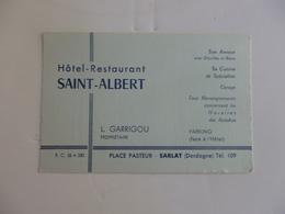 Carte De Visite De L'hôtel-restaurant Saint-Albert Place Pasteur à Sarlat (Dordogne). - Visiting Cards